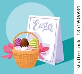 decorated easter eggs in basket ... | Shutterstock .eps vector #1351906934