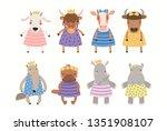 big set of cute funny animal... | Shutterstock .eps vector #1351908107