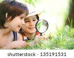 happy kid exploring nature with ...   Shutterstock . vector #135191531