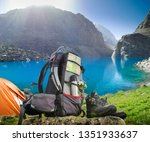 hiking equipment and camping... | Shutterstock . vector #1351933637