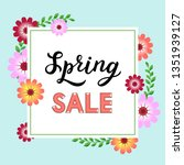 spring sale flyer template with ... | Shutterstock .eps vector #1351939127