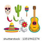set traditional mexican... | Shutterstock .eps vector #1351942274