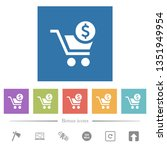 checkout with dollar cart flat... | Shutterstock .eps vector #1351949954