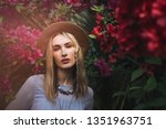 Blonde Caucasian  Woman In Hat...