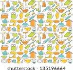 kitchen elements seamless... | Shutterstock .eps vector #135196664