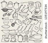 kitchen elements doodle vector | Shutterstock .eps vector #135197534