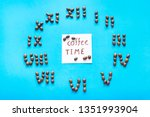 note coffee time and clock made ... | Shutterstock . vector #1351993904