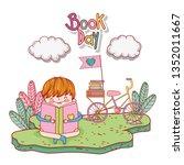 happy little boy reading book...   Shutterstock .eps vector #1352011667