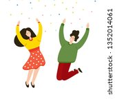 friends jumping joy together.... | Shutterstock .eps vector #1352014061