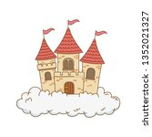fairytale castle in the clouds... | Shutterstock .eps vector #1352021327