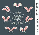 set of easter mask with pink... | Shutterstock . vector #1352029277