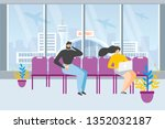 waiting for flight flat vector... | Shutterstock .eps vector #1352032187