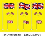 set of united kingdom flag clip ... | Shutterstock .eps vector #1352032997