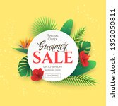 summer sale banner with... | Shutterstock .eps vector #1352050811