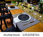 the wooden dining table set | Shutterstock . vector #1352058761