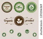 set vintage organic labels.... | Shutterstock .eps vector #135206369