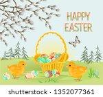 happy easter spring landscape... | Shutterstock .eps vector #1352077361