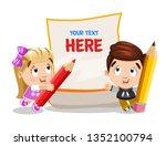cute little boy and girl stand... | Shutterstock .eps vector #1352100794
