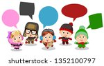 set of cute boys and girls... | Shutterstock .eps vector #1352100797