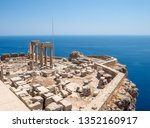 lindos acropolis ruins on the... | Shutterstock . vector #1352160917