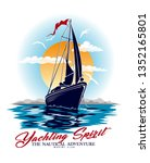 yachting spirit.sketch sail... | Shutterstock .eps vector #1352165801