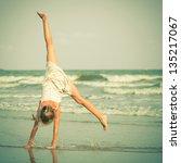 beautiful girl having fun at... | Shutterstock . vector #135217067