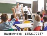 Rear View Of Kids Raising Hands ...