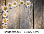 chamomile on wooden background | Shutterstock . vector #135224291