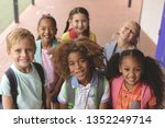 high angle view of happy school ... | Shutterstock . vector #1352249714
