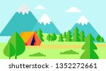 wild nature rest  camping flat... | Shutterstock .eps vector #1352272661