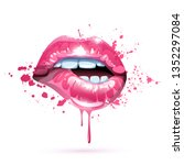 glossy colored and sexy lips in ... | Shutterstock .eps vector #1352297084