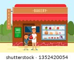 bakery shop showcase with... | Shutterstock .eps vector #1352420054
