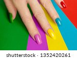 colorful bright manicure with...   Shutterstock . vector #1352420261