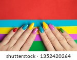 Colorful bright manicure with...