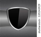 black shielf on metal background | Shutterstock . vector #135243929