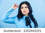 eyelash extension tweezer. girl ... | Shutterstock . vector #1352442251