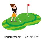 woman to play the golf | Shutterstock . vector #135244379
