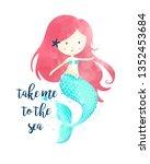 hand drawing mermaid...   Shutterstock .eps vector #1352453684