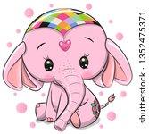 cute cartoon pink elephant... | Shutterstock .eps vector #1352475371