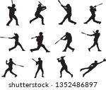 set of baseball player... | Shutterstock .eps vector #1352486897