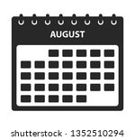 august calendar icon. flat...