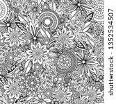 hand drawn seamless pattern... | Shutterstock .eps vector #1352534507