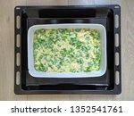 raw pie with green onion cut...