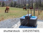 view of horses in pasture with...   Shutterstock . vector #1352557601