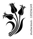 black silhouettes of tulips.... | Shutterstock .eps vector #135256145