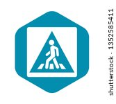 pedestrian road sign icon in... | Shutterstock . vector #1352585411