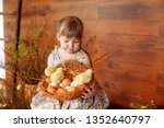 Girl Holding Nest With Eggs And ...
