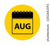august calendar yellow vector... | Shutterstock .eps vector #1352642591