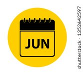 june calendar yellow vector... | Shutterstock .eps vector #1352642597