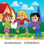 kids play theme image 2   eps10 ... | Shutterstock .eps vector #135264611